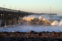 Ocean Wave Storm Pier Royalty Free Stock Images