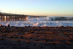 Ocean Wave Storm Pier Stock Photo