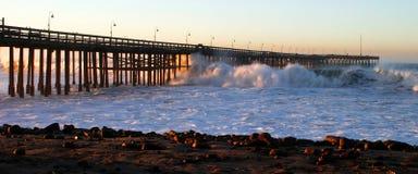 Ocean Wave Storm Pier Stock Photography