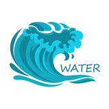 Ocean wave symbol with foam and splashes Stock Image