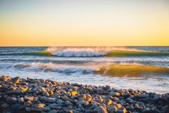 Ocean wave at warm sunset or sunrise. Ideal wave on sea. Ocean wave at warm sunset or sunrise. Ideal wave Stock Photos