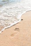 Ocean wave wash away footprints Stock Photos