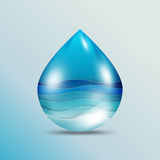 Ocean wave on water drop. World oceans day concept design with ecosystem and environment concept.Ocean wave on water drop in paper art style.Vector illustration Stock Image