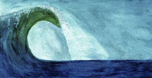 Ocean wave in watercolor. Paint royalty free illustration