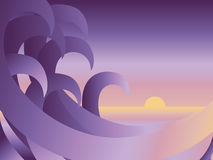 Ocean Waves. Illustration of ocean waves with sunset Stock Photo