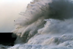 Ocean Waves. Big stormy waves crashing over Portuguese Coast Stock Photo