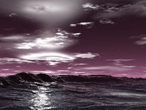 Ocean waves. And violet sky stock illustration