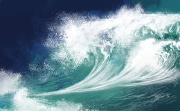 Ocean Waves. White ocean waves on blue sky background - Computer Illustration Stock Images