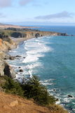 Ocean waves along coast. View of Pacific Ocean along California Hwy 1 Stock Images