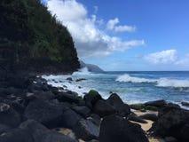 Ocean Waves along NaPali Coast on Kauai Island, Hawaii. Royalty Free Stock Images