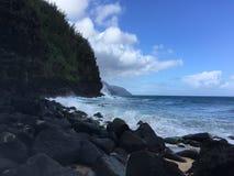 Ocean Waves along NaPali Coast on Kauai Island, Hawaii. Stock Photography