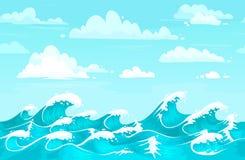 Ocean waves backdrop. Sea water, storm wave and aqua seamless cartoon vector background illustration. Ocean waves backdrop. Sea water, storm wave and aqua vector illustration