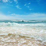 Ocean waves. And blue sky royalty free stock photos