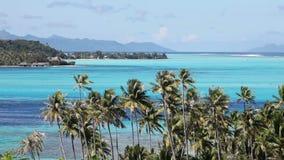 Ocean waves in the Bora-Bora lagoon. Polynesia. stock video footage