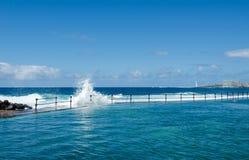 Ocean waves breaking on natural outdoor swimming pool in small fishing village Bajamar. Tenerife North, Canary Islands, Spain. Ocean waves breaking on the stock image
