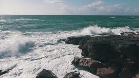 Ocean Waves Breaking on Rock stock video