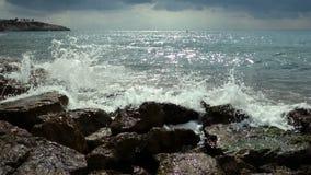 Ocean Waves Breaking On The Rocks. stock footage