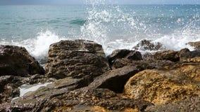 Ocean Waves Breaking On The Rocks. stock video