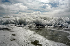 Ocean waves and cloudy sky. Ocean waves and cloudy blue sky Stock Images