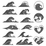 Ocean waves collection. Sea storm wave isolated. Waves, water elements set. Nature wave water storm linear style. Ocean waves vector set. Sea storm wave isolated royalty free illustration