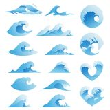 Ocean waves collection. Sea storm wave isolated. Waves, water elements set. Nature wave water storm linear style. Ocean waves vector set. Sea storm wave isolated stock illustration