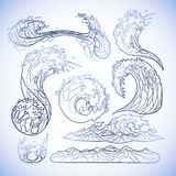 Ocean waves collection vector illustration