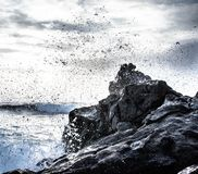 Ocean Waves Crashed on Cliff Stock Photos
