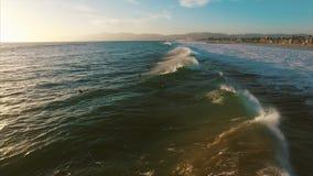 Ocean waves crashing. Marina del Rey, California during sunset stock video footage