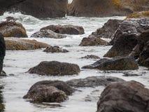 Ocean Waves Crashing on Rock Stock Image
