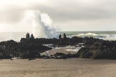 Ocean Waves Crashing into Rocky Shore. Waves impacting rocks on west coast of United States Stock Photo
