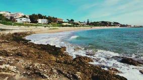 Ocean Waves Crashing On Tropical Beach. Portugal stock footage