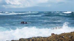 Ocean waves crushing coastline. Tropical storm stock video