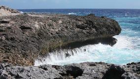 Ocean waves crushing coastline stock video