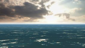 Ocean waves and fast-moving clouds. Animation of ocean waves and rapidly flying clouds. Through the clouds a bright sun shines stock video
