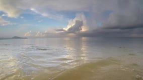 Ocean Waves Hit Camera POV on a Sandy, Idyllic, Paradise Beach stock video footage