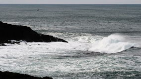 Ocean Waves Hitting Black Lava Rock Shore Depoe Bay Oregon stock video