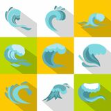 Ocean waves icons set, flat style Stock Images