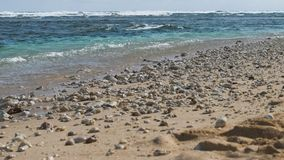 Ocean waves lapping on the sand beach with some stones. Riff waves in background stock footage