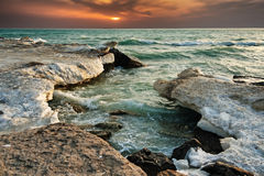 Ocean waves lapping at a shoreline Stock Image