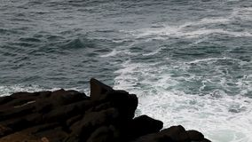 Ocean Waves And Lava Rock Shore Depoe Bay Oregon Fast Motion stock footage