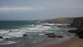 Ocean waves near Portugal west coast stock footage