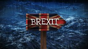 Ocean waves video. Ocean waves at night during a storm against animated british brexit sign stock video