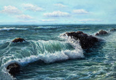 Ocean waves. Original oil painting showing waves in  ocean or sea on canvas. Modern Impressionism, modernism,marinism Stock Photo