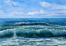 Ocean waves. Original oil painting showing waves in  ocean or sea on canvas. Modern Impressionism, modernism,marinism Stock Images