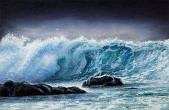 Ocean waves. Original oil painting showing waves in  ocean or sea on canvas. Modern Impressionism, modernism,marinism Royalty Free Stock Images