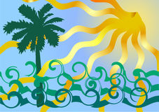 Ocean waves and palm tree. Stock Photo