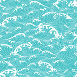 Ocean waves, pattern seamless background hand drawn Asian style