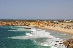 Ocean waves on Praia Do Tonel beach. View from Sagres fortress,. Portugal royalty free stock photos