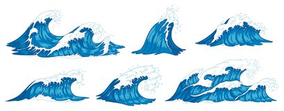 Ocean waves. Raging sea water wave, vintage storm waves and ripples tides hand drawn vector illustration. Ocean waves. Raging sea water wave, vintage storm waves royalty free illustration