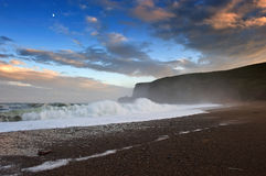 Ocean waves rolled ashore in the evening. Royalty Free Stock Photo
